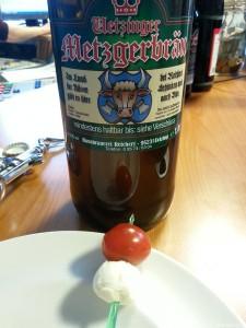 Metzgerbräu Weissbier und Tomate Mozzarella